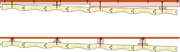 возможные схемы крепления минилаг из бруса для выравнивания деревянного пола