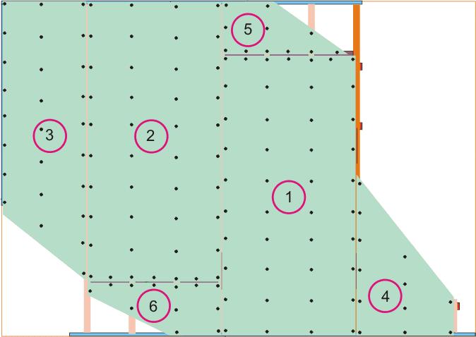 последовательность крепления листов первого уровня подвесного потолка с волнами