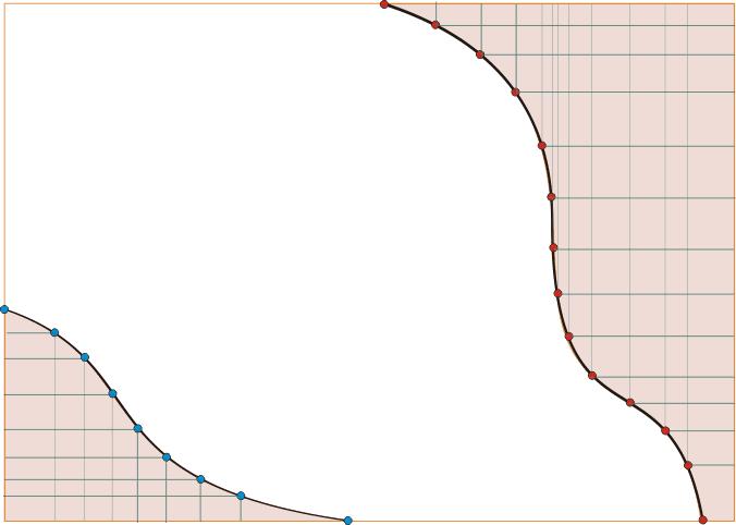 план потолка с волнами с координатами характерных точек