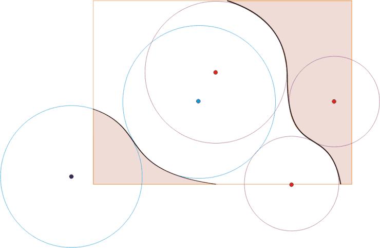 волна, образованная окружностями разного диаметра