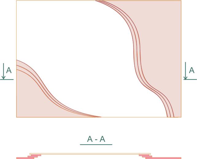 Общий вид и разрез потолка с волнами в 3 уровнях